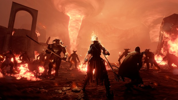 Vermintide 2 screenshot of the Beastmen and Sienna on fire