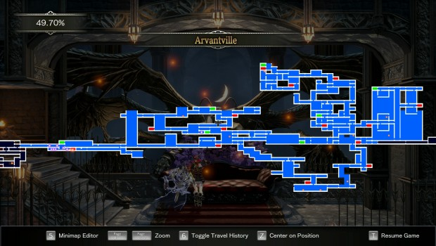 Bloodstained: Ritual of the Night screenshot of the map