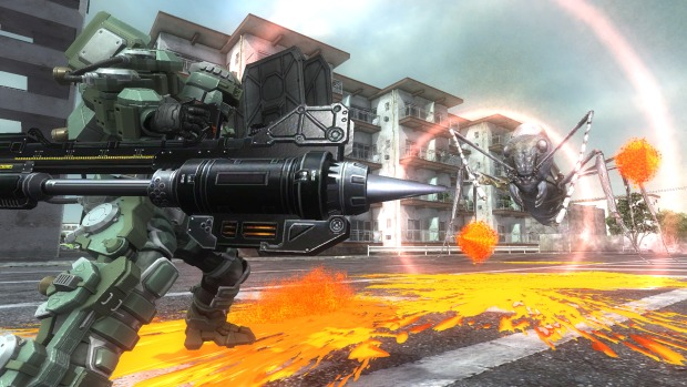 Earth Defense Force 5 screenshot of the Lancer with a giant cannon