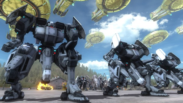 Earth Defense Force 5 PC screenshot of giant mechs and aliens