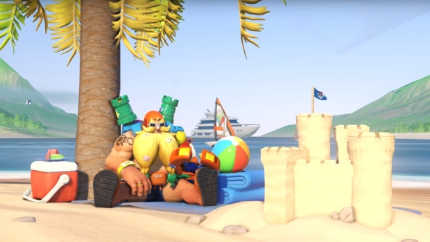 Overwatch Summer Games 2019 screenshot of Torbjorn on the beach