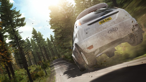 DiRT Rally screenshot of a race through wooded paths