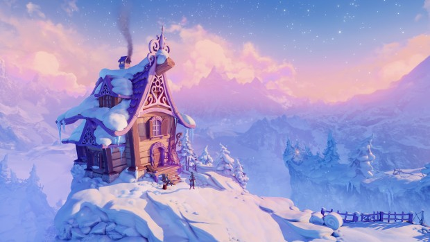 Trine 4 official screenshot of the mage character's snowy house