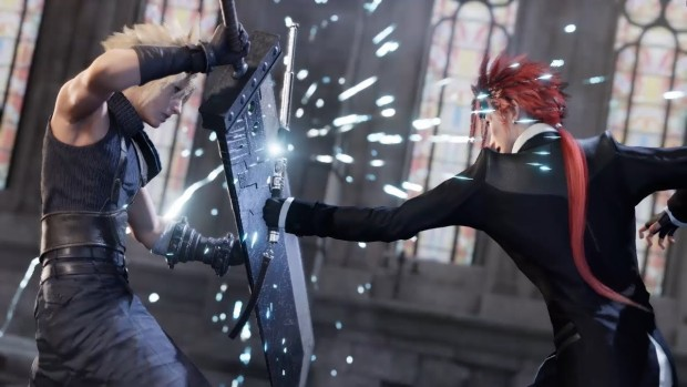 Screenshot of a cinematic battle from Final Fantasy VII Remake's trailer