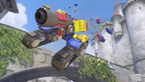 Overwatch screenshot of the Lego themed Brick Bastion