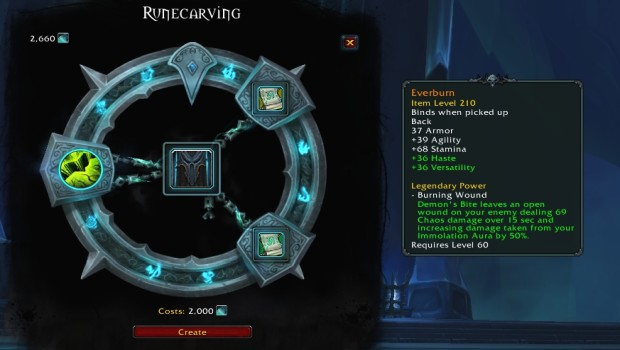 World of Warcraft: Shadowlands screenshot of the legendary crafting system