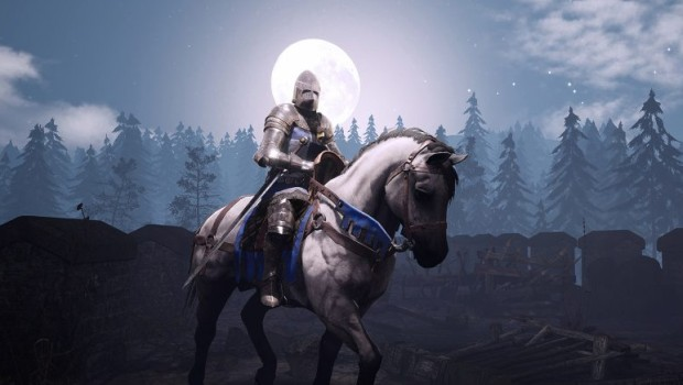 Chivalry 2 screenshot of an armored knight riding a horse