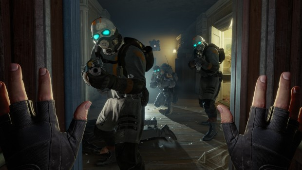 Half-Life: Alyx screenshot of multiple Combine soldiers attacking the player