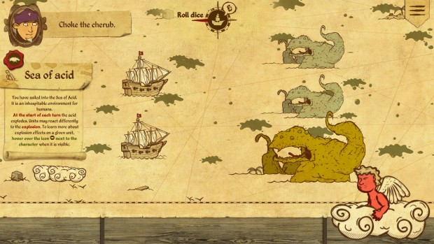 Here Be Dragons screenshot of sea monsters attacking the player ships