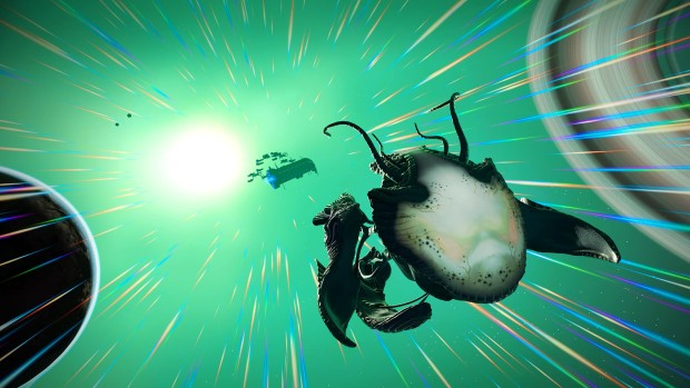 No Man's Sky screenshot of the newly added living ships