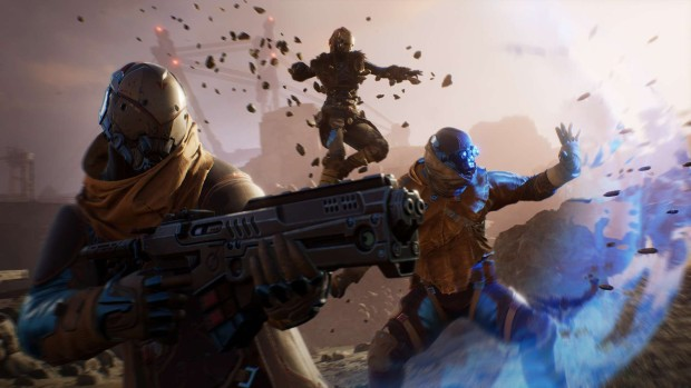 Outriders screenshot of a force field blocking an attack