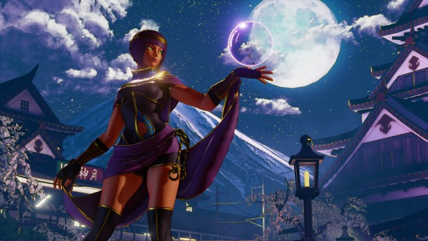 Street Fighter V character contrasted by a lovely background