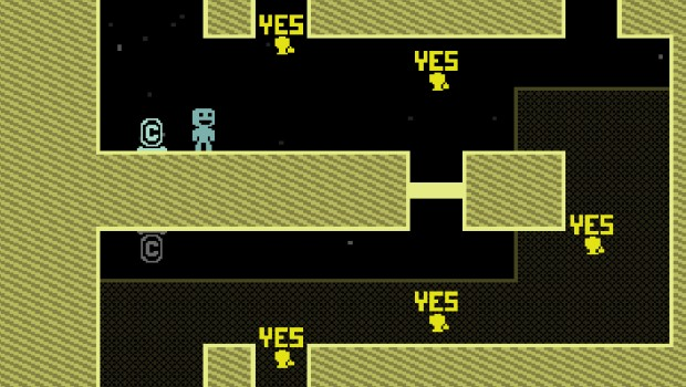 VVVVVV game screenshot of the room with the moving 'yes' signs