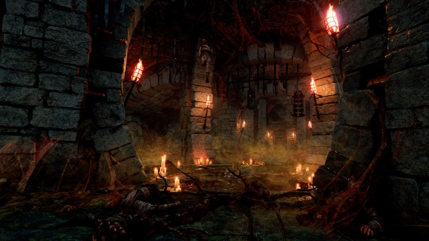 Vermintide 2 Blood in the Darkness map screenshot of a Nurgle infested crypt
