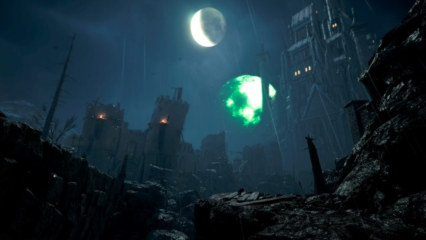 Vermintide 2 screenshot of the giant moon from the new Blood in the Darkness map
