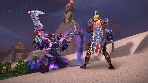 World of Warcraft screenshot of corrupted gear in action