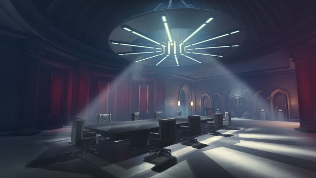 Overwatch screenshot of the board room from the Riato map
