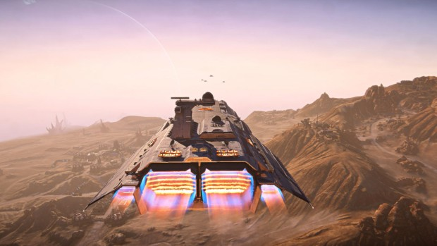 Close up screenshot of Planetside 2's upcoming Bastion Fleet Carrier ships
