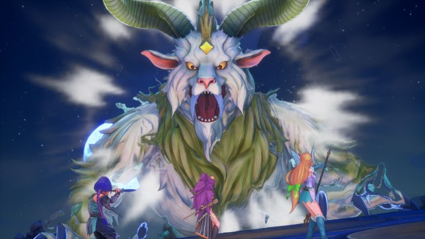 Trials of Mana gameplay screenshot of three characters fighting a boss