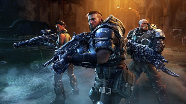 Gears Tactics screenshot of the main characters from up close