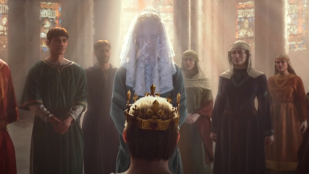 Crusader Kings 3 screenshot of the coronation from the trailer