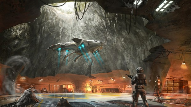 Halo 3 concept artwork showing a cave landing