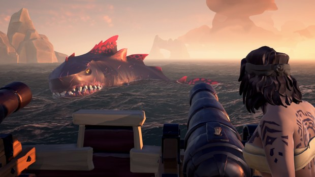 Sea of Thieves screenshot of a giant shark attack