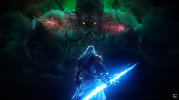 Smite artwork of Zeus fighting Cthulhu