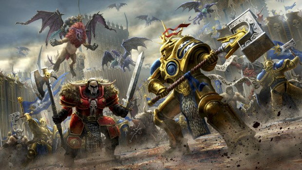 Warhammer: Age of Sigmar artwork of Chaos against Stormcast