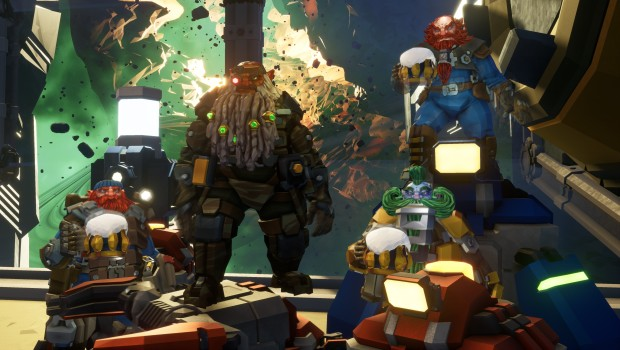 Deep Rock Galactic screenshot of the four Dwarves drinking beer