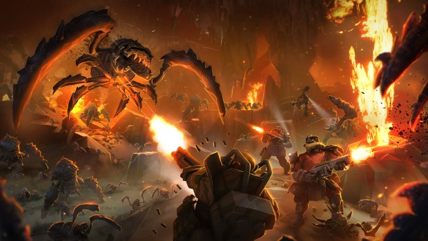 Deep Rock Galactic artwork of a fierce battle