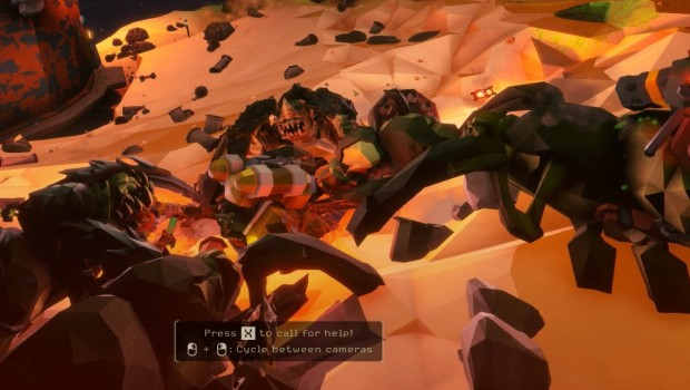 Deep Rock Galactic screenshot of a Dwarf being attacked on the ground