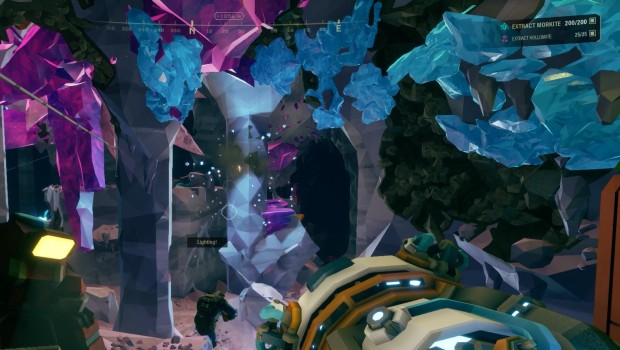 Deep Rock Galactic screenshot of strange crystals