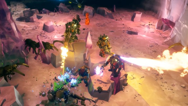 Deep Rock Galactic screenshot of four Dwarves fighting together