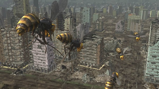 Earth Defense Force 6 screenshot of the wasps destroying a city