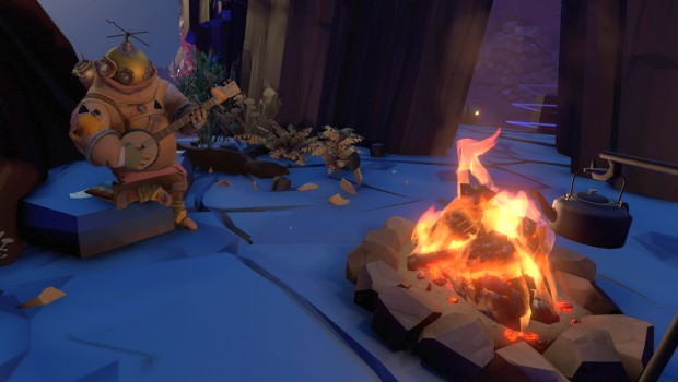 Outer Wilds screenshot of a banjo by the bonfire