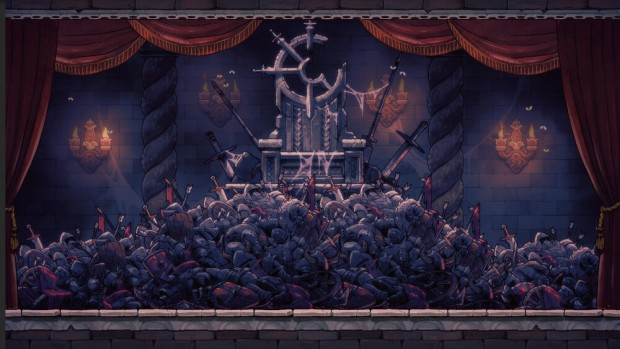 Rogue Legacy 2 screenshot of a throne riddled with bodies infront