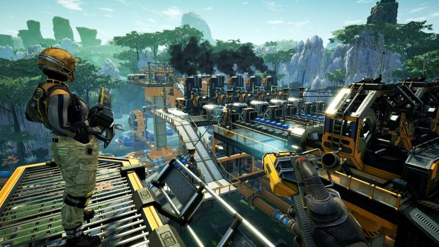 Satisfactory screenshot of two players overlooking their factory