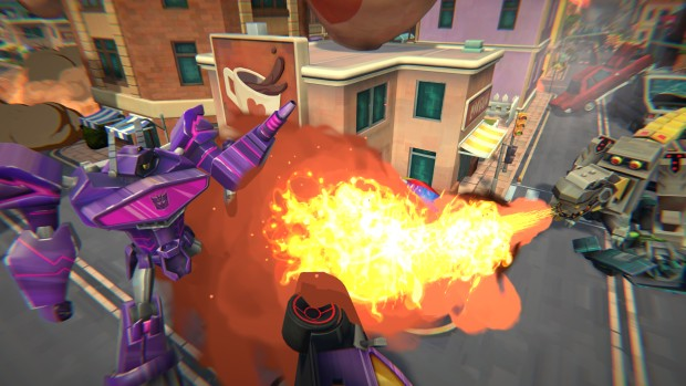 Transformers: Battlegrounds screenshot of a flamethrower attack