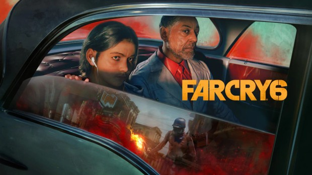 Far Cry 6 official artwork showing the main antagonists in the car