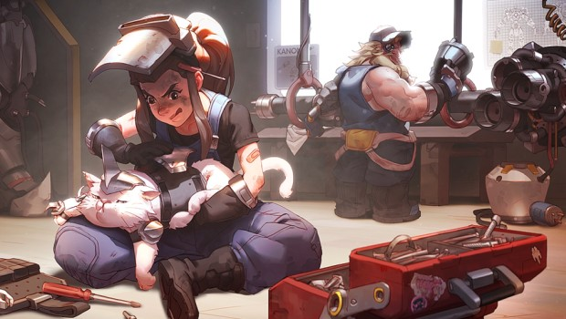 Artwork of Overwatch's Brigitte working on jetpack cat