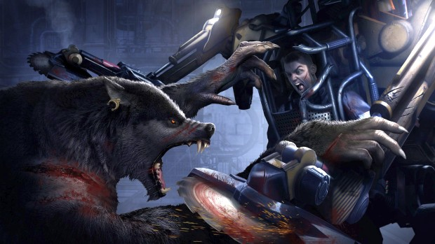 Werewolf: The Apocalypse - Earthblood artwork of a werewolf fighting a mech