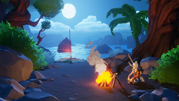 Windbound screenshot of the main character resting by a bonfire